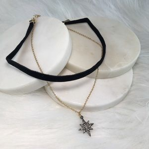 INC Two-Tone Pave Star Velvet Choker Necklace